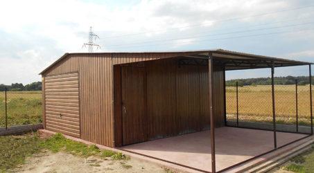 Garaż blaszany dach dwuspadowy 5×5 z wiatą 3×5