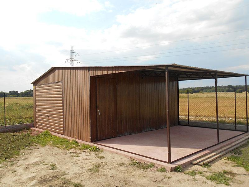 Garaż Blaszany Dach Dwuspadowy 55 Z Wiatą 35 Wiaty Garażowe
