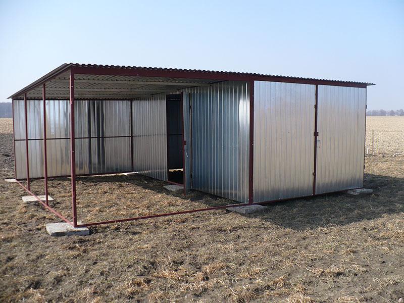 Garaż blaszany 3×5 spad na tył z 3×5 wiatą
