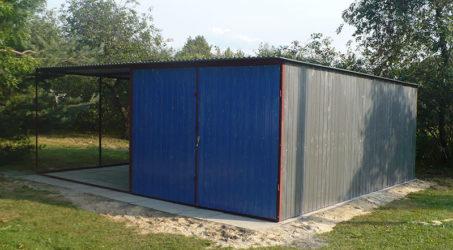 Garaż blaszany 3×5 spad na tył z wiatą 3×5