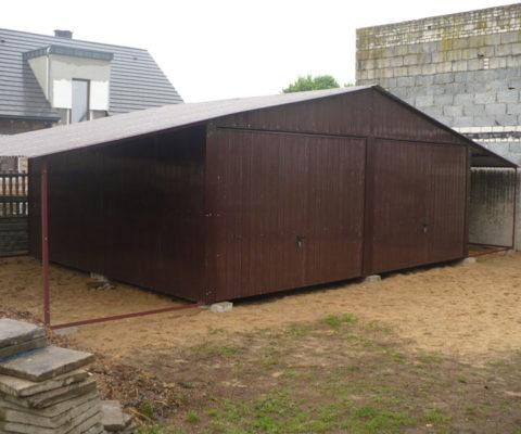 Garaż blaszany 6×5 dwie wiaty