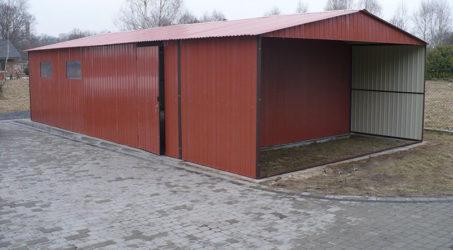 Garaż blaszany 6×5 z wiatą